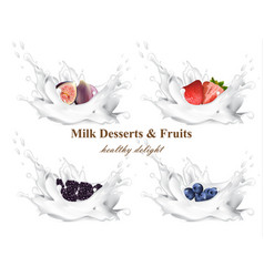 milk splash with fruits realistic set vector image