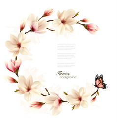 Nature background with blossom branch of white vector