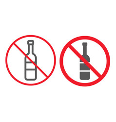 no alcohol line and glyph icon prohibition vector image