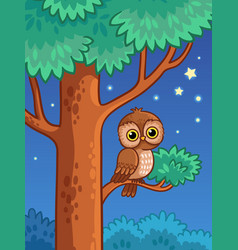 owl at night sit on a tree branch vector image