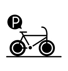 Parking bicycle traffic sign transport silhouette vector