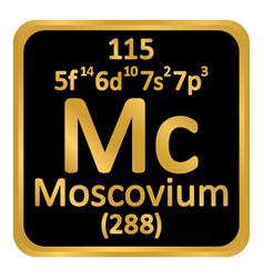 Periodic table element moscovium icon vector