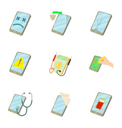 Phone repair service icons set cartoon style vector