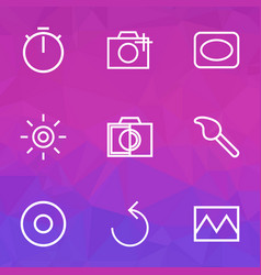 Photo icons line style set with photo colorless vector