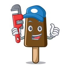 plumber chocolate ice cream mascot cartoon vector image
