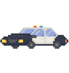 police car with flashing lights pixel transport vector image