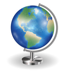 real planet earth globe with steel stand vector image