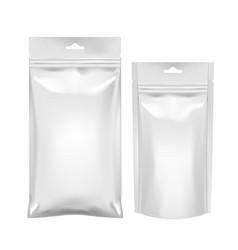 Realistic flexible foil pillow bag for food vector