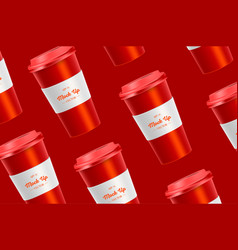 Red pattern coffee cup mockup on background vector