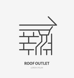 roof outlet drain flat line icon house vector image