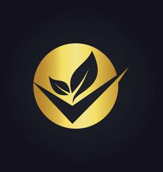 round organic check gold logo vector image