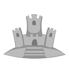 Sand castle icon gray monochrome style vector