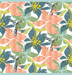 Seamless pattern with bold colorful flowers with vector