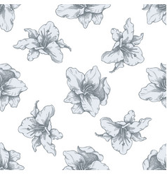 seamless pattern with hand drawn pastel lily vector image