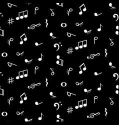 seamless pattern with music notes symbols black vector image
