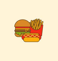 set hamburger hot dog and french fries flat vector image