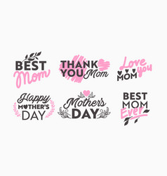 set mothers day icons with typography vector image