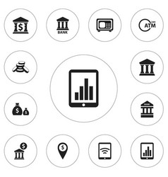 set of 12 editable banking icons includes symbols vector image