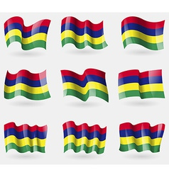 Set of Mauritius flags in the air vector image