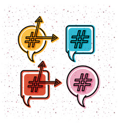 Set of speech bubbles with trend symbol and arrows vector