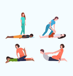 Set personal trainers doing stretching exercises vector