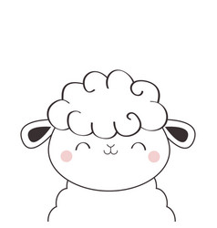 Sheep lamb face head icon linecontour silhouette vector