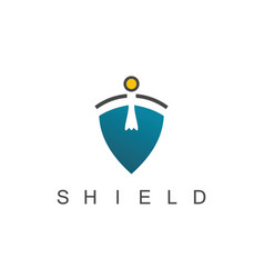 Shield man logo vector