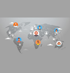 social media communication world map concept vector image