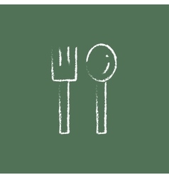 Spoon and fork icon drawn in chalk vector
