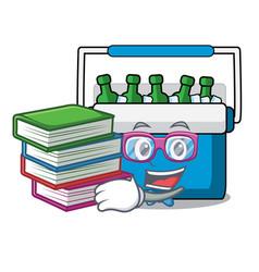 Student with book freezer bag mascot cartoon vector