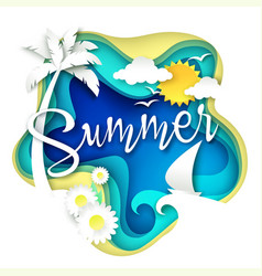 Summer layered paper art style vector