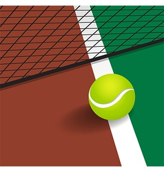 Tennis Ball on court corner line vector