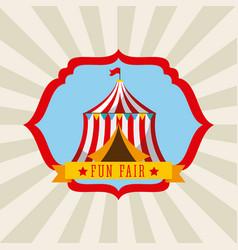 Tent amusement fun fair theme park poster vector