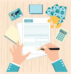 Top view of man hands filling tax form with pen vector