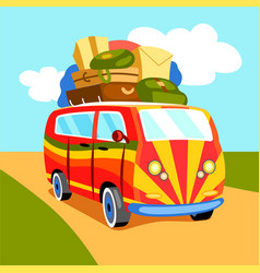 Traveling by minibus cartoon vector