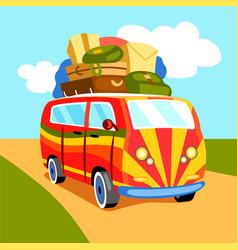 Traveling minibus cartoon vector
