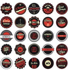 vintage labels black and red set vector image