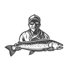 vintage monochrome fishing concept vector image