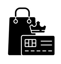 Vip membership black glyph icon vector