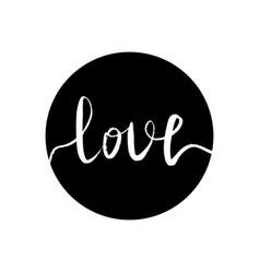 white inscription love in a vector image