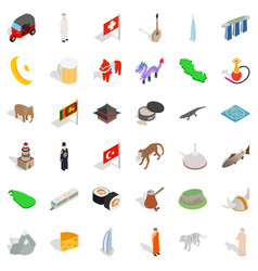 World tour icons set isometric style vector