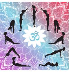 yoga set surya namaskar vector image