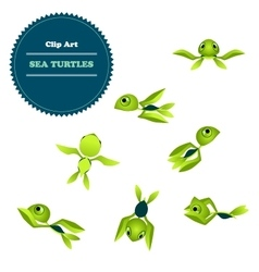 Clipart Set cartoon turtle vector image