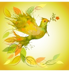 Green Dove with flower branch and autumn leaves vector image