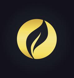 round organic leaf bio gold logo vector image vector image