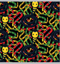 serpent tangle and cobra black seamless pattern vector image vector image