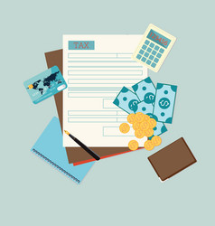 top view of tax form vector image vector image