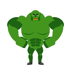 Angry ogre aggressive green troll on white vector