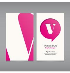 Business card template letter v vector