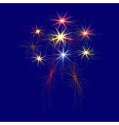Festive large multi-colored fireworks on a blue vector